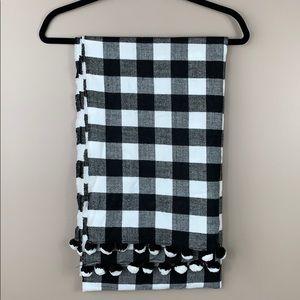 J. Crew black and white plaid oversized scarf